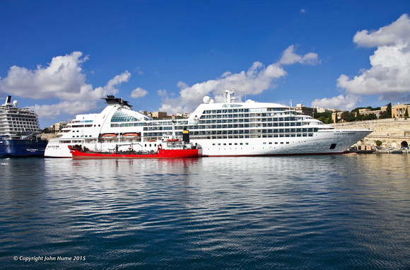Cruise Ship Seabourn Sojourn in Grand Harbour, Valletta